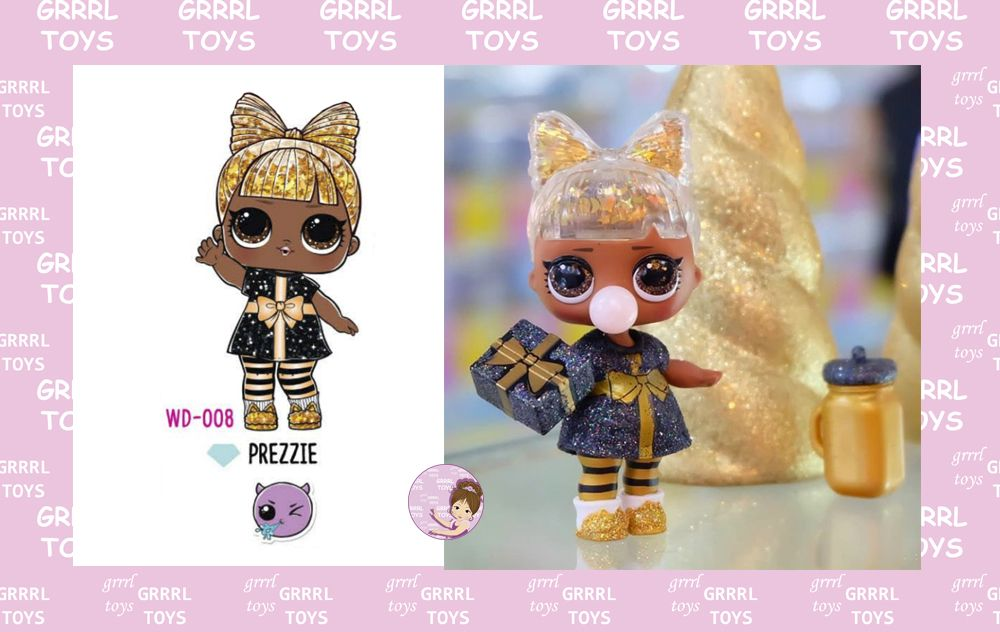 Prezzie Glitter Globe series 008 golden and black doll with Christmas gift dress