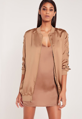 Missguided x Carli Bybel rose gold bomber jacket