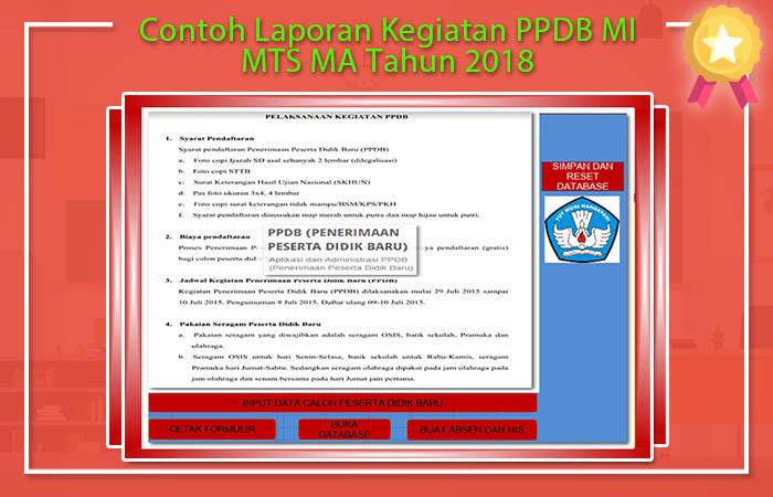 Contoh Laporan Kegiatan PPDB MI MTS MA Tahun 2018