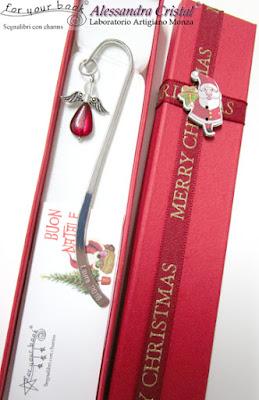 segnalibro metallo regalo Natale nome inciso