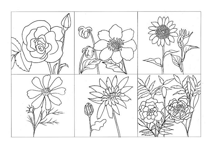 Lembar Mewarnai Gambar Bunga Gratis