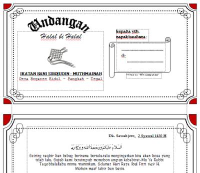 contoh undangan halal bihalal desa/ kantor