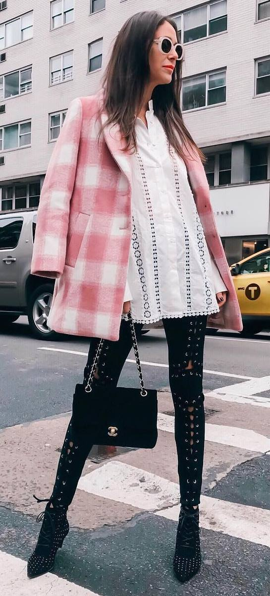 how to style a plaid coat : white blouse + bag + lace up skinnies + boots