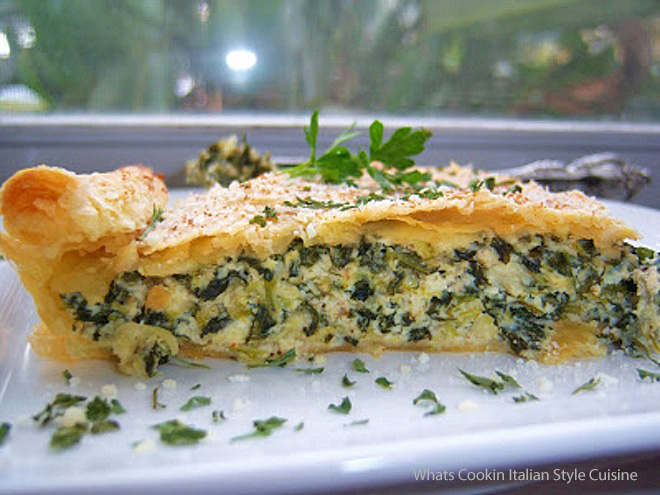 this is a savory pie made with spinach, broccoli, cheeses, eggs baked into a puff pastry dough