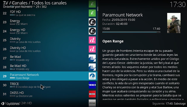 EPG IPTV canales tv españa