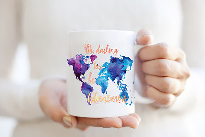15+ Of The Best Traveler Gift Ideas Besides Actual Plane Tickets - Adventurers Word Map Watercolor Mug