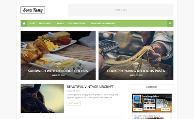Sora Tasty mobile friendly blogger template free download