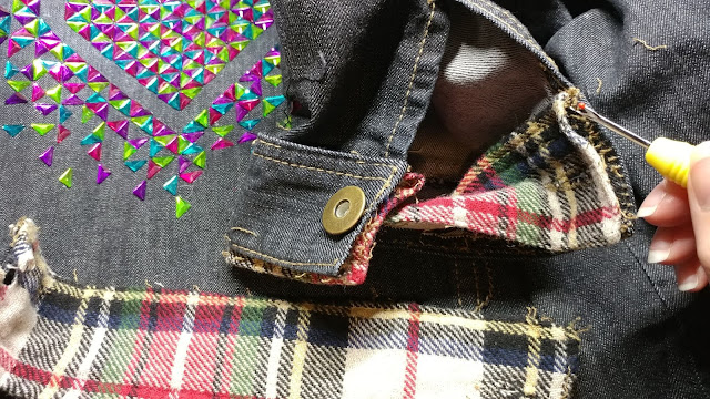 Ripping out old denim jacket cuffs