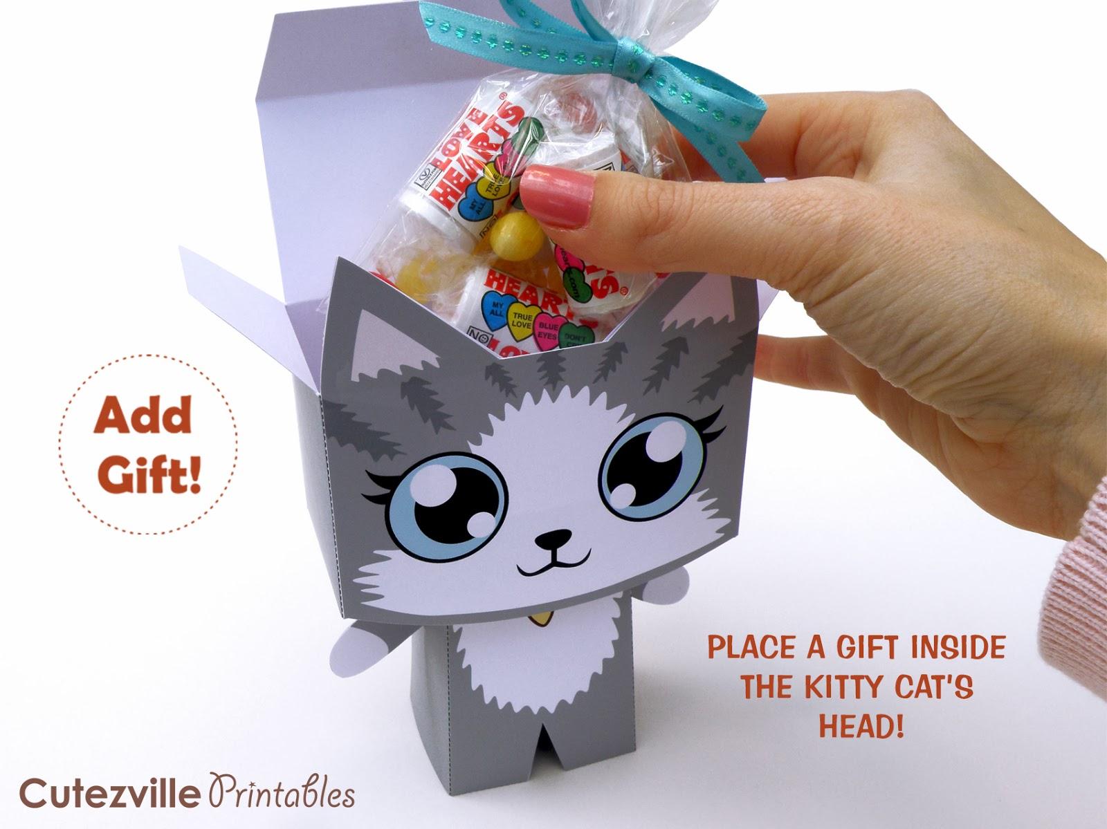 Cutezville Printables Kitty Cat Printable T Box