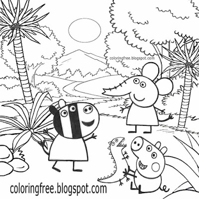 George dinosaur printable Emily Elephant jungle Zoe Zebra Peppa Pig coloring sheets for children art