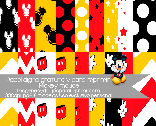 Mickey Mouse Para Imprimir De Manos Manos De Mickey Para: Papel De Mickey Mouse Para Imprimir