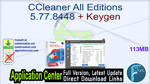 CCleaner All Editions 5.77.8448 + Keygen