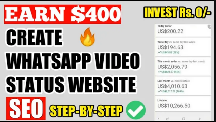 Earn $400 Monthly With WhatsApp Status Video Download Website - Rs. 0 INVESTEMENT- Paise Kaise kamaye