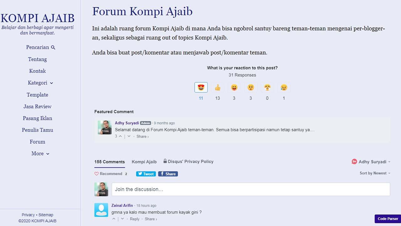 Membuat Forum di Laman Static dengan Disqus