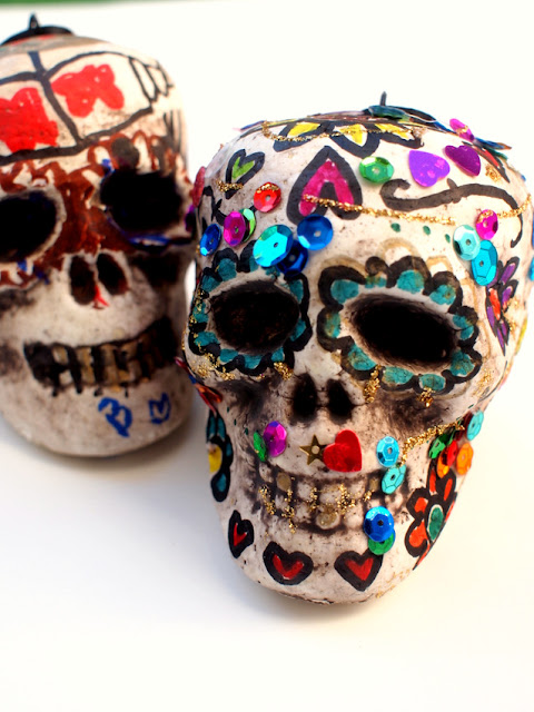 Colorful and Glittery Skulls for Halloween or Dia De Los Muertos Craft