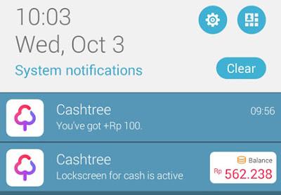 Notif aplikasi cashtree