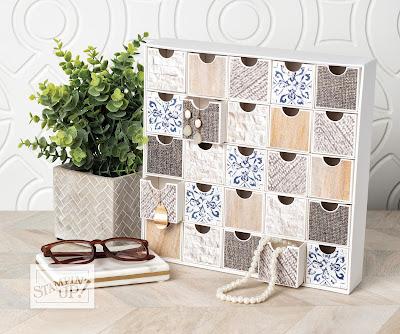 Stampin' Up! In Good Taste Designer Paper + Christmas Countdown Calendar Kit = Chic Storage Solution! #stampinup