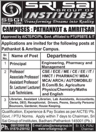 Sri Sai Group of Institutions Wanted Principal/Professor/Associate ...