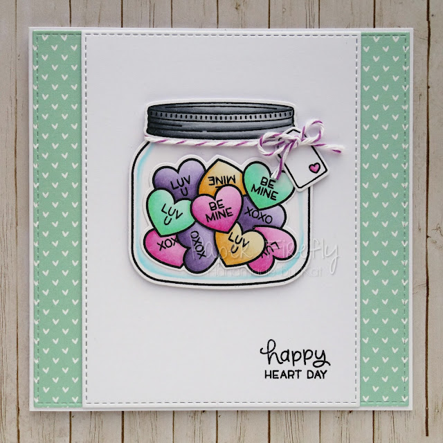 Jar of hearts Valentine's Day card using How You Bean and Conversation Hearts add-on from Lawn Fawn