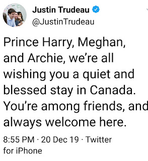 Justin Trudeau sends warm wishes to Duke and Duchess of Sussex - you are among friends here!
