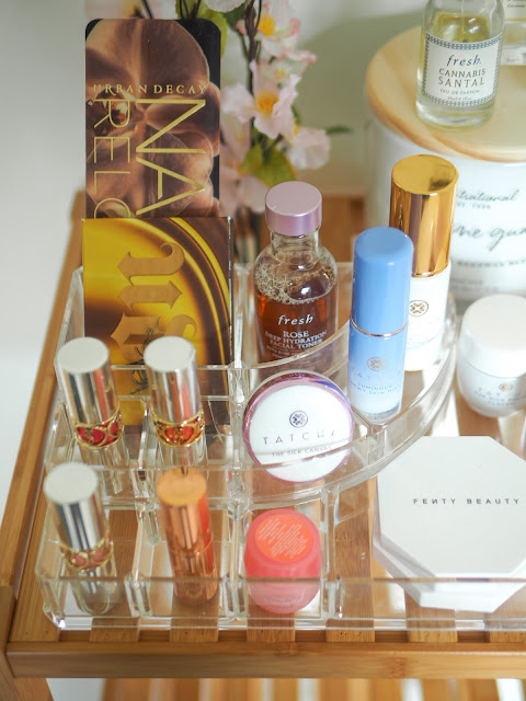 Beauty product display with items for Sephora