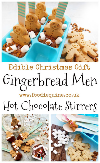 www.foodiequine.co.uk The perfect edible Christmas gift for a Chocolate fan. These Gingerbread Men Hot Chocolate Stirrers are absolutely adorably cute and at the same time so quick and easy to make. Use them with hot milk or in coffee for a mocha.