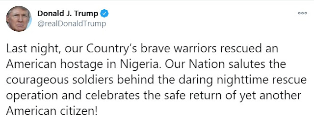 President Trump Drops Emotional Tweet Celebrating Soldiers Who Rescued Citizen From Nigeria