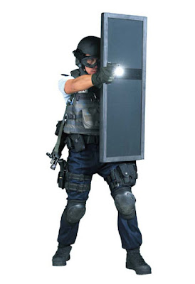 Hongkong police with shield