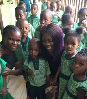 Tiwa Savage Visits Her Former Primary School In Lagos