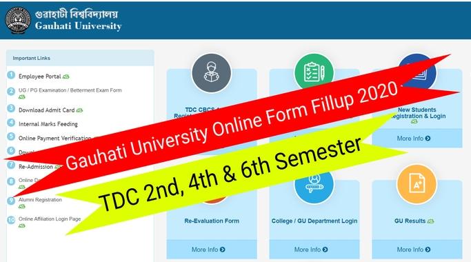 Gauhati University Online Form Fillup 2020: 2nd, 4th & 6th Semester