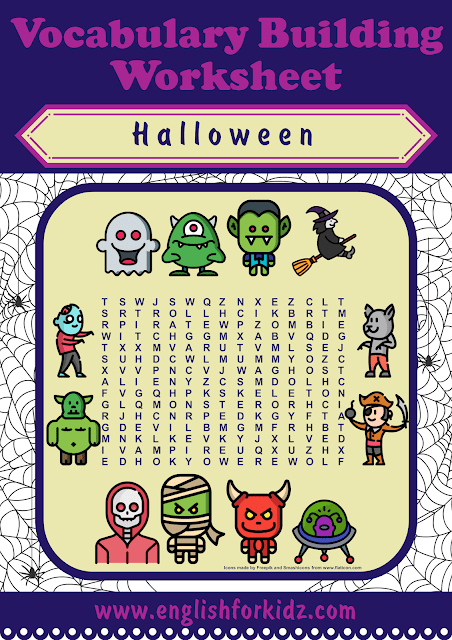 Halloween word search puzzle - printable ESL worksheets
