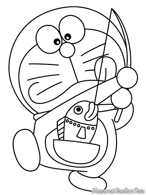 Gambar Doraemon Memancing Ikan Untuk Diwarnai