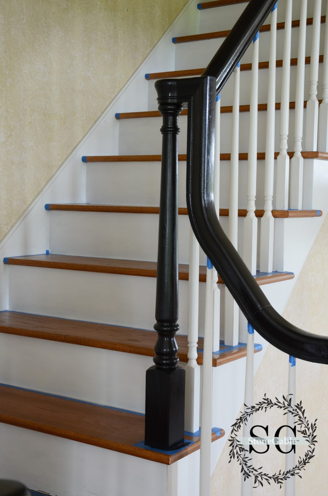 The Stairs In Progress Stonegable | Black Banister White Spindles | Black Railing | Wainscoting | White Painted Riser | Benjamin Moore Stair Railing | Baluster Curved Stylish Overview Stair
