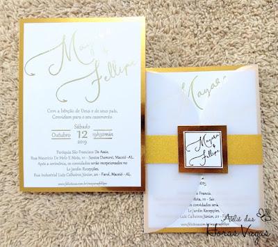 convite de casamento artesanal personalizado luxo sofisticado branco e dourado metalizado foil hot stamping gold com brilho convite dourado diferente criativo lindo moderno rosê gold prata metal wedding invitation inspiration