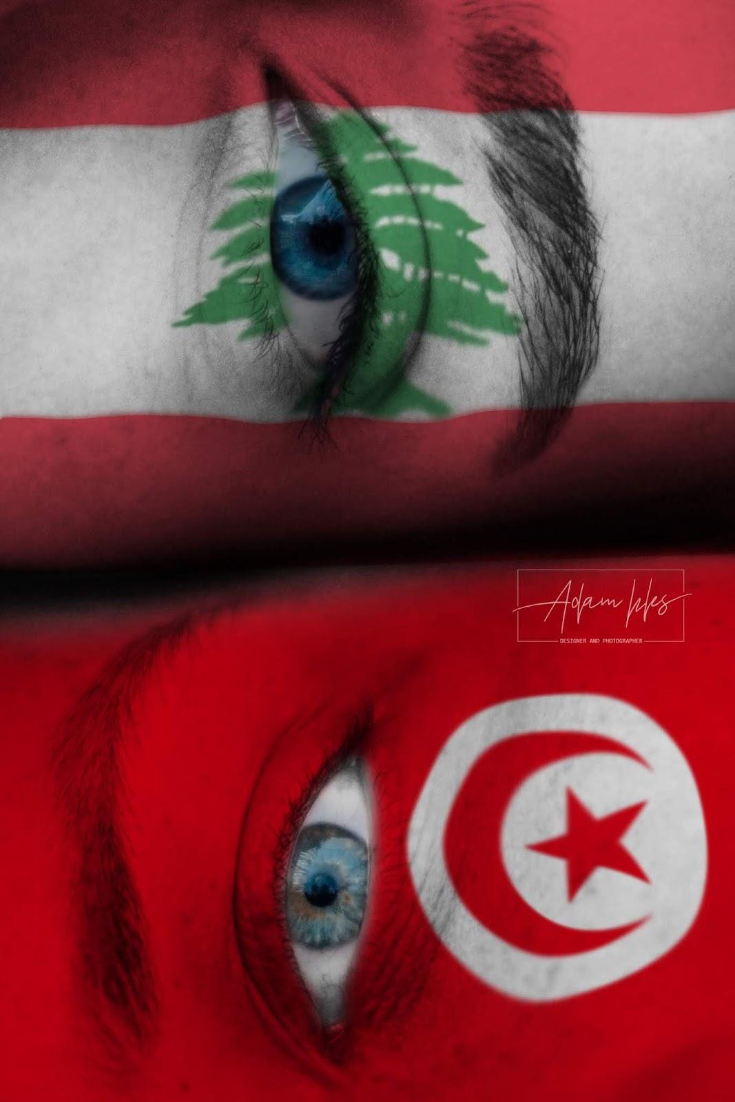 علم لبنان وعلم تونس