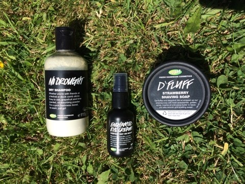 Lush haul no drought dry shampoo enchanted eye cream d'fluff shaving foam