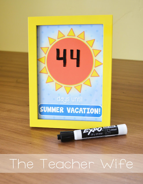 the teacher wife: Summer Vacation Countdown |Freebie|