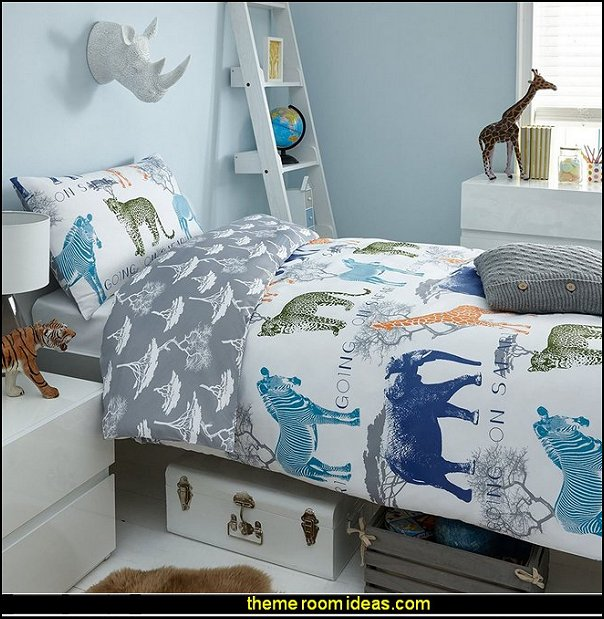 Going on SafarI bedding jungle safari bedroom ideas  safari jungle themed wild animals - jungle animals wild safari bedroom ideas - tropical jungle theme - jeep beds - wild animal murals - tropical lagoon murals - jungle waterfall murals - Lion king Disney Jungle vines wall decals