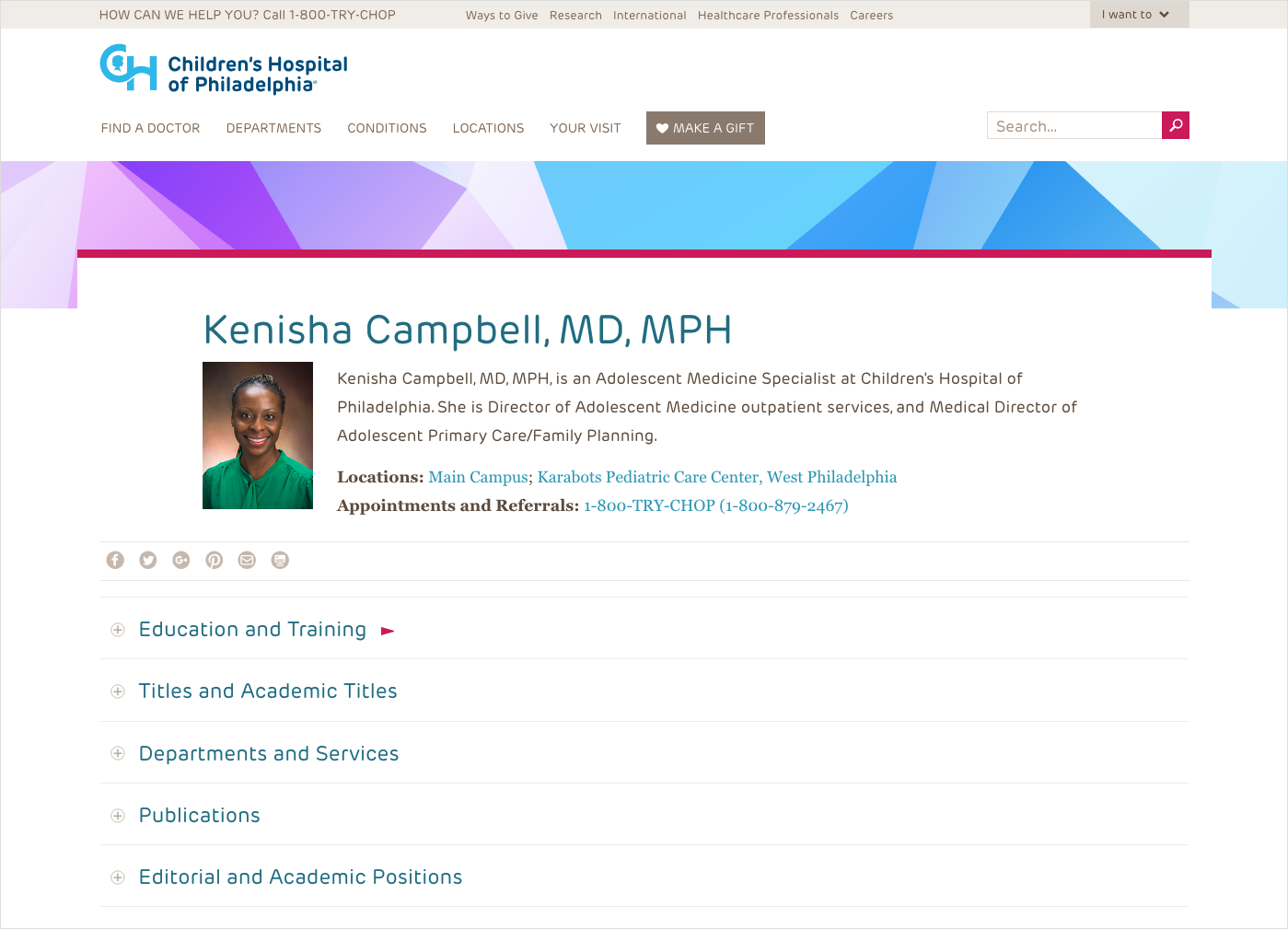 The Children's Hospital of Philadelphia presents secondary biographic information about its doctors using a simple, expandable accordion-style menu as part of its page design.