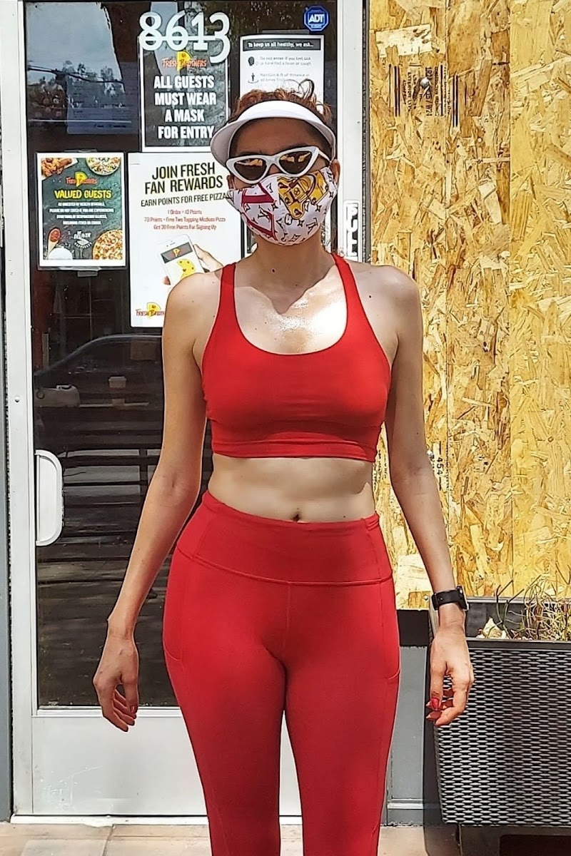 Blanca Blanco Clicked in a Red Leggings and Sports Bra Out in Los Angeles 23 Aug -2020