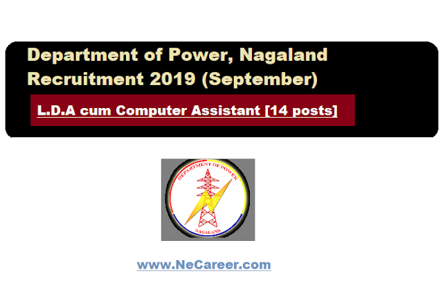 Department of Power, Nagaland recruitment 2019 (Sept) | L.D.A cum Computer Assistant [14 posts]