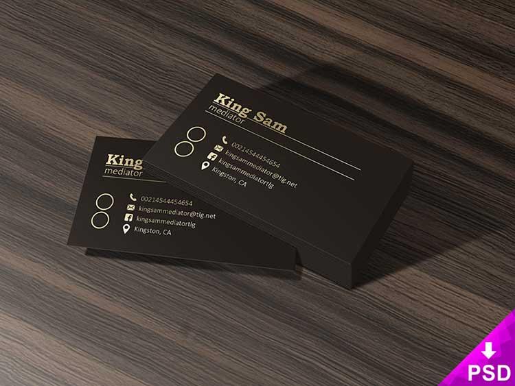 Dark Business Cards Mockup PSD