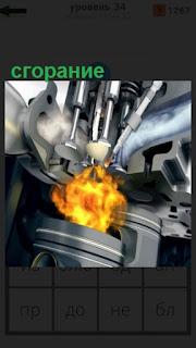 сгорание топлива в камере сгорания двигателя