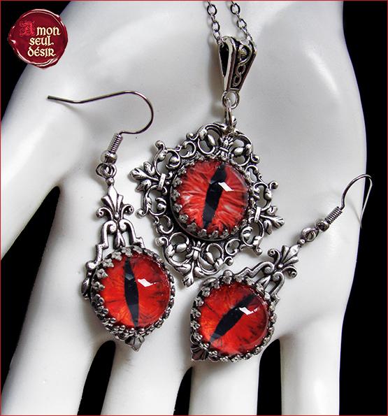 Bijoux gothiques yeux rouges diablerie Mephistopheles Faust Dragon Fantasy