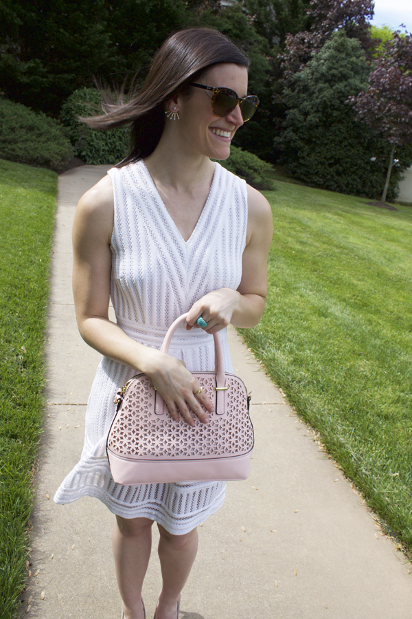 My Style, Naturally Me, Little White Dress, LWD, H&M Dress, H&M White Dress, Lace Dress, Nude, Nude Heels, Pink Bag, Pink Perforated Bag, Blush Bag, Blush Purse, Ear Jackets, Arrow Ring, Alex & Ani Ring