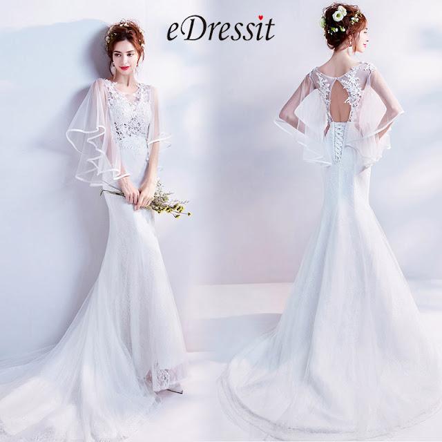 White Sheer Lace Cape formal Wedding Bridal Dress