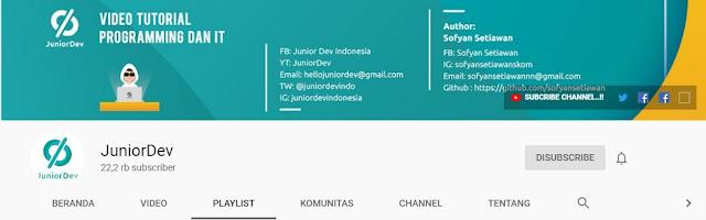 Channel Youtube untuk Belajar Bahasa Pemrograman, juniordev,