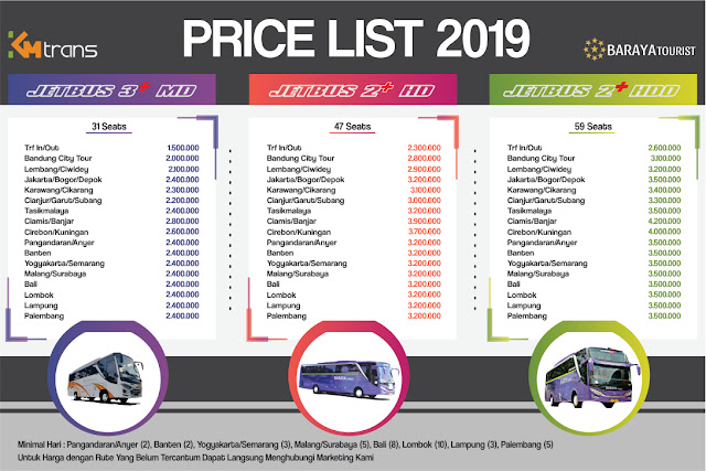 Harga Sewa Bus Pariwisata SHD Bandung 2019