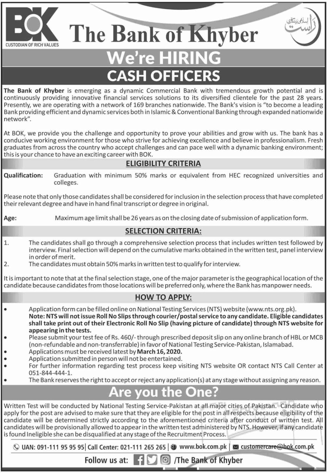 Cash Officer Jobs for All Cities in Pakistan in The Bank of Khyber BOK Jobs 2020 via NTS Testing Service