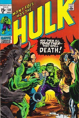 Incredible Hulk #139, the Hulk vs a whole army of his deadliest foes, thanks to the Leader and his deadly mind-machine